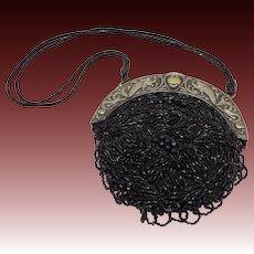 Black Beaded Art Nouveau Purse