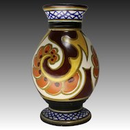 Gouda Art Pottery Vase in the Ballya Pattern circa 1920s