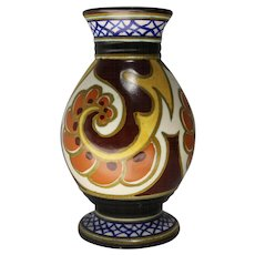 Gouda Art Pottery Vase in the Ballya Pattern circa 1920s