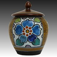 Gouda Art Pottery Pot with Lid in the Sydney Pattern circa 1920s