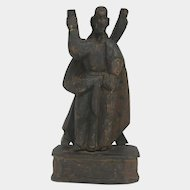 Colonial Hand Carved Wooden Santo (Saint) Sculpture