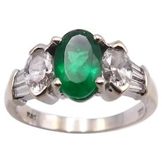 18 K White Gold, Emerald, and Diamond Ring
