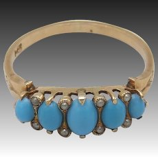 Victorian Turquoise Paste and Seed Pearl, 14K Gold Ring