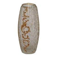 Harrach Bohemian Cit Glass Vase with Gold Enamel