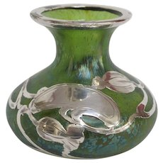 Loetz Pinched Glass Vase, Sterling Silver Floral Overlay