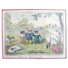 """George Cruikshank """"Mushroom Monstrosities"""" Hand Colored Print from 1835"""