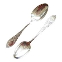 Pair of Whiting Sterling Silver Serving Spoons in the Arabesque Pattern, circa 1875