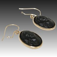 Victorian 14 Karat Gold and Vulcanite Cameo Earrings