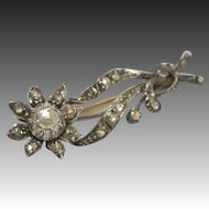 Early Victorian Diamond 14K Gold Back and Silver Front Flower Brooch