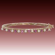 Antique 14KT Gold, Ruby, and Pearl Edwardian Bracelet