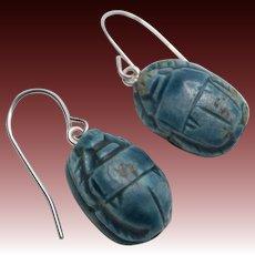 Egyptian Revival Scarab Earrings