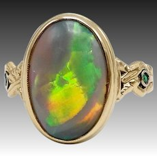14K Gold Black Opal and Emerald Ring