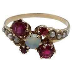 14K Gold Garnet, Opal and Seed Pearl Victorian Ring