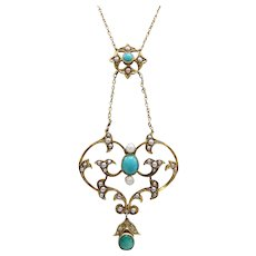 15 Ct Gold Edwardian Turquoise and Seed Pearl Necklace in Original Box