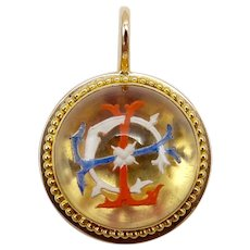French Reverse Painted Carved Essex Crystal Pendant or Charm in 20K Gold