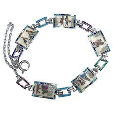 Sterling Silver Egyptian Revival Enamel Bracelet