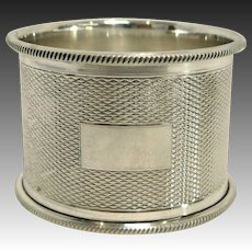 English Sterling Silver Engine Turned Napkin Ring by Turner & Simpson, Circa 1952