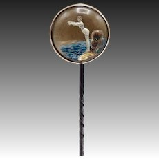 Reverse Painted Carved Essex Crystal Bathing Beauty Stick Pin