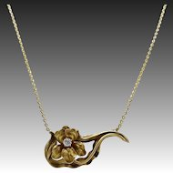 14KT Gold & Diamond Iris Pendant and Chain
