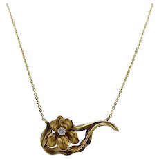 14KT Gold & Diamond Iris Pendant and Chain