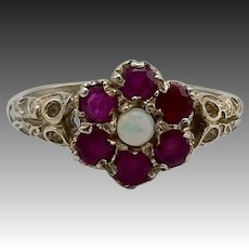 9KT Gold, Opal and Ruby Art Nouveau Ring