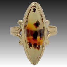 Victorian 10KT Gold Spotted Banded Agate Ring