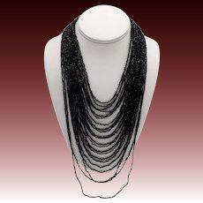 Vintage Black Glass Bead Flapper Necklace