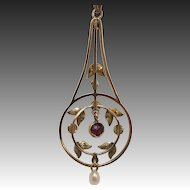9K Gold Edwardian Lavaliere with Ruby and Seed Pearls