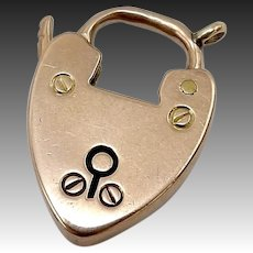 Victorian 9 Karat Gold Heart Shaped Lock Charm or Clasp