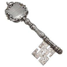 Sterling Silver Hand Engraved Masonic Presentation Key Pendant