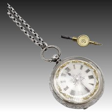 Victorian-Era Sterling Silver & 14KT Gold Pocket Watch with Chain