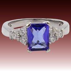 14KT White Gold Blue Violet Tanzanite & Diamond Ring