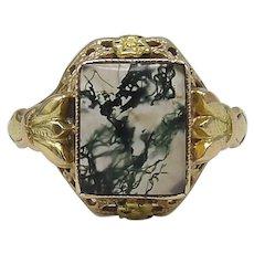 10K Gold & Moss Agate Edwardian Ring