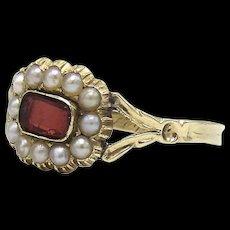 Georgian 12KT Gold, Garnet & Pearl Memorial Ring