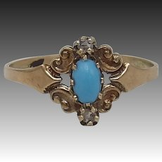 Victorian 14KT Gold Turquoise Paste & Diamond Ring