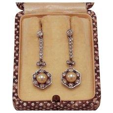 Edwardian Era Paste & Pearl Earrings
