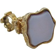 14KT Gold & White Agate Fob Seal