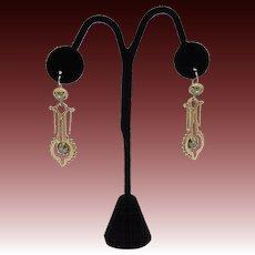 Etruscan Revival 14KT Gold & Blue Glass & Black Enamel Earrings
