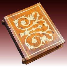 Sorrento Ware Burl Wood Book-Shaped Match Safe