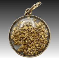 1890's 14KT Gold Nugget Shaker Pendant
