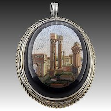 Sterling Silver Micro-Mosaic Italian Grand Tour Pendant