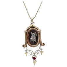 12KT Gold, Turquoise, Pearl and Ruby, Victorian Fly Locket