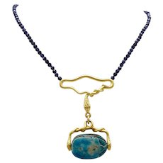 Egyptian Revival 20KT Gold Snake and Faience Scarab Watch Fob Necklace