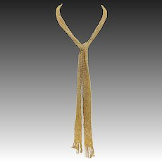 Vintage Italian 18KT Gold Knitted Necklace or Scarf