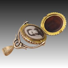 14KT Gold Carved Carnelian Watch Fob and Locket