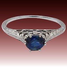 18KT White Gold Filigree Edwardian Natural Sapphire Ring