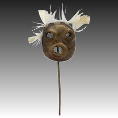 Rare Antique Bronze and Feather Mask Stick Pin