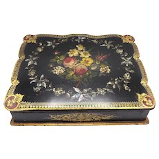 Victorian-era Portable Writing Desk with Flowers