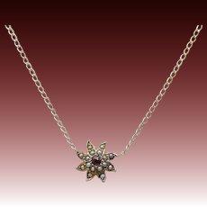Edwardian 14KT Gold Pearl & Garnet Star-Flower Necklace
