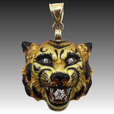 Art Nouveau 14KT Gold, Diamond & Enamel Tiger Pendant